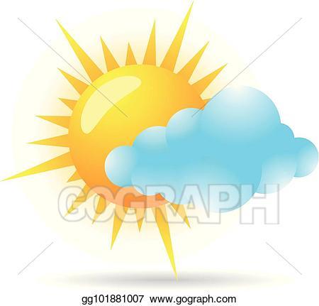 Vector art color icon. Sunny clipart colored