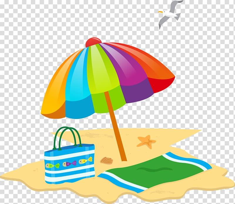 Multi umbrella beach summer. Sunny clipart colored