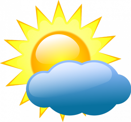 Sunny clipart colored. Pastel symbol for partly