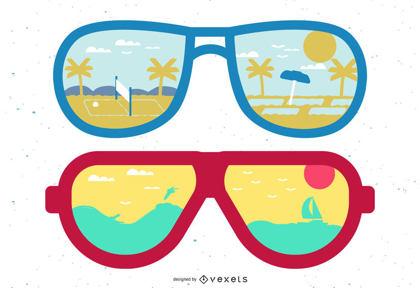 Sunny clipart cool sunglasses. Beach reflection vector download