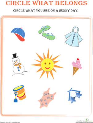 Circle what belongs worksheet. Sunny clipart day activity