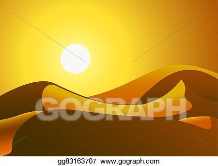 Sunny clipart desert. Eps illustration dunes vector