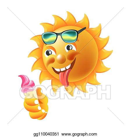Vector stock sun smile. Sunny clipart funky