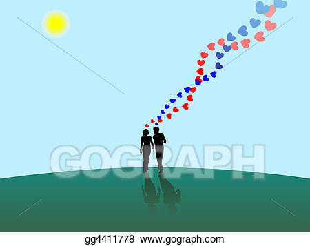 Stock illustrations heart couple. Sunny clipart love