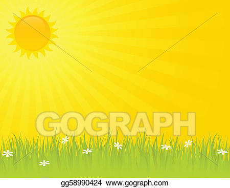 Vector illustration summer day. Sunny clipart noon time