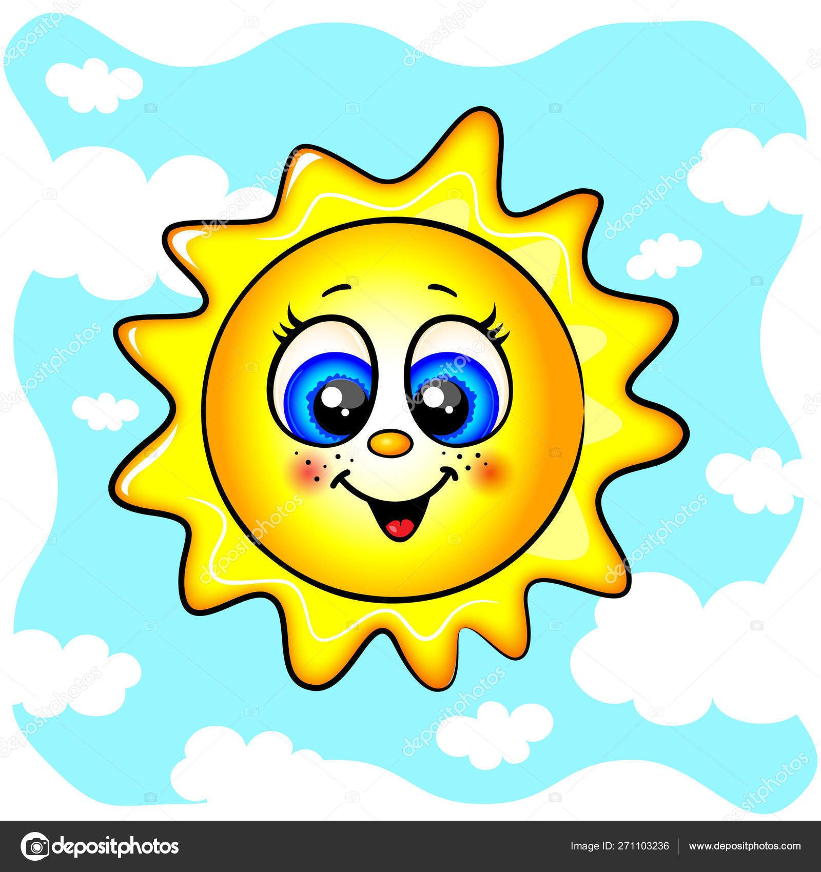 Blue eyes happy color. Sunny clipart object