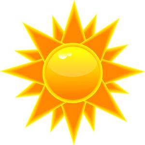 Sunny clipart orange. Cartoon sun in bright