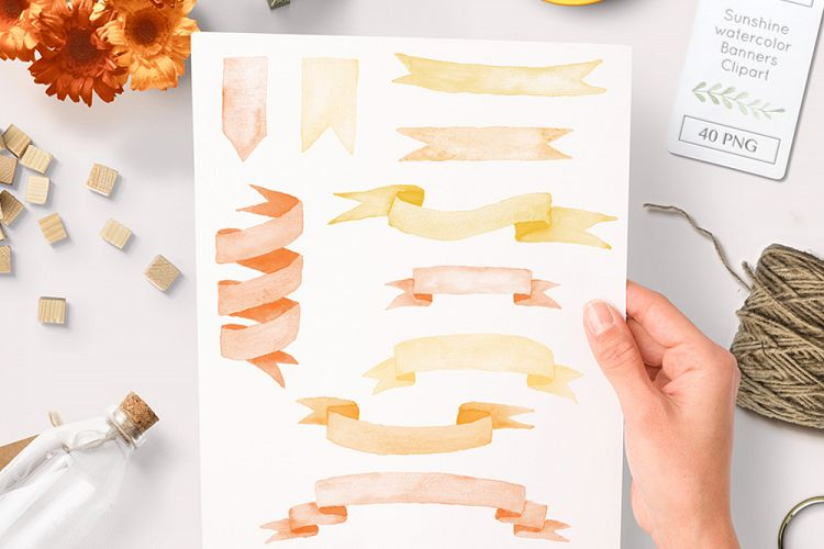 Watercolor ribbons and banner. Sunny clipart orange
