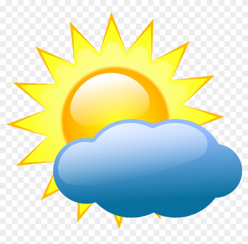 Transparent sunshine weather symbol. Sunny clipart partly