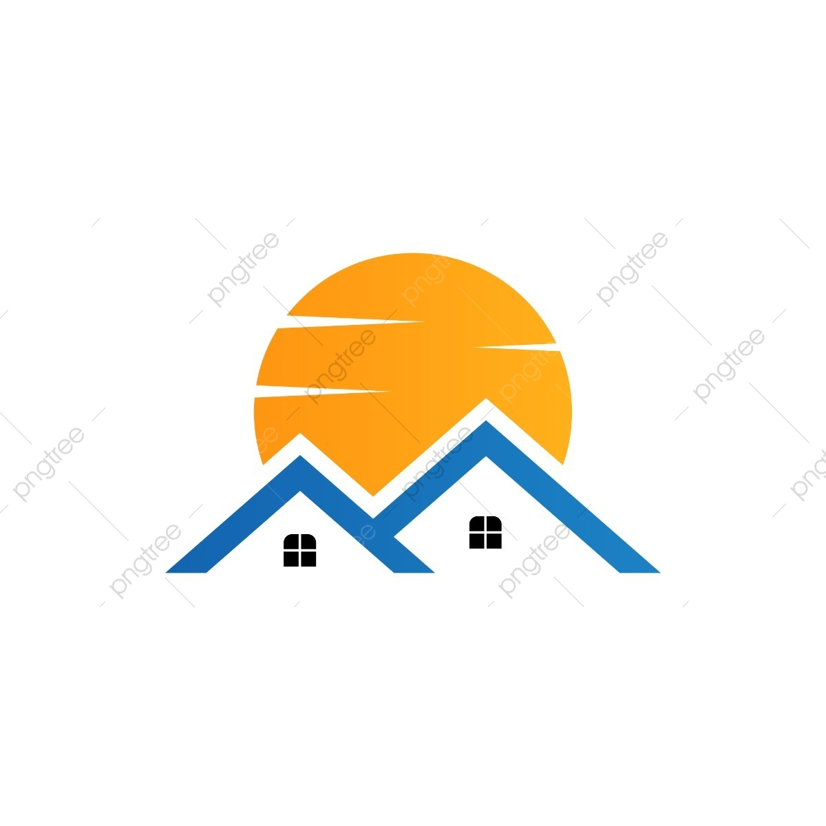 Sunny clipart real. Estate logo satisfying sunset