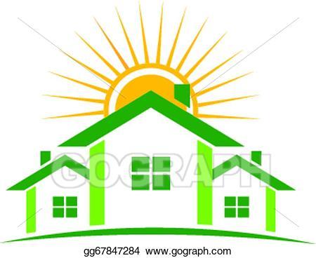 Vector houses logo illustration. Sunny clipart real