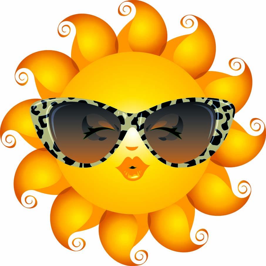 Sun with sunglasses emoticon. Sunny clipart shades