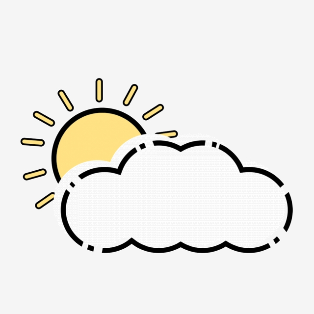 Sunny clipart simple. Hand painted to cloudy