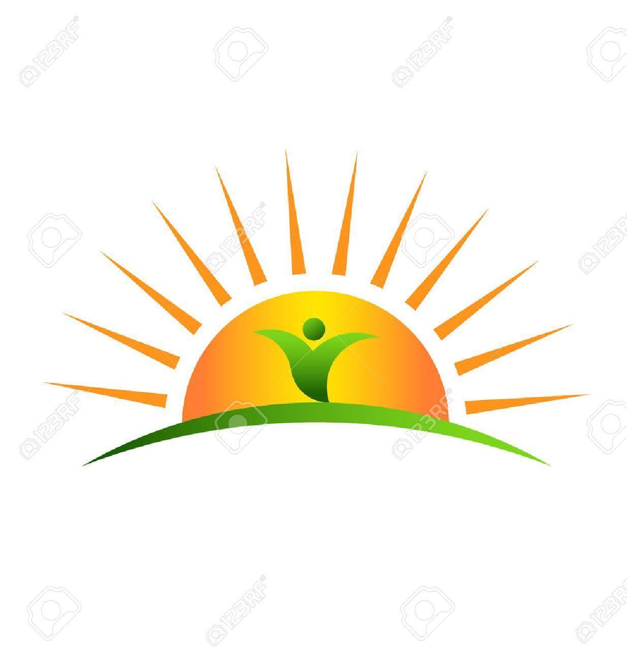 Stock vector sunrise plants. Sunny clipart sun plant