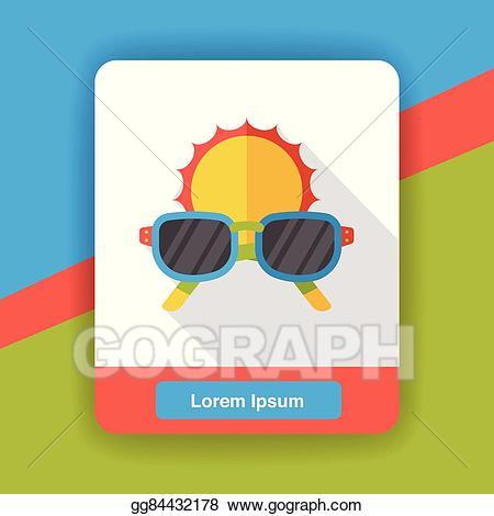 Vector stock flat icon. Sunny clipart sunglass
