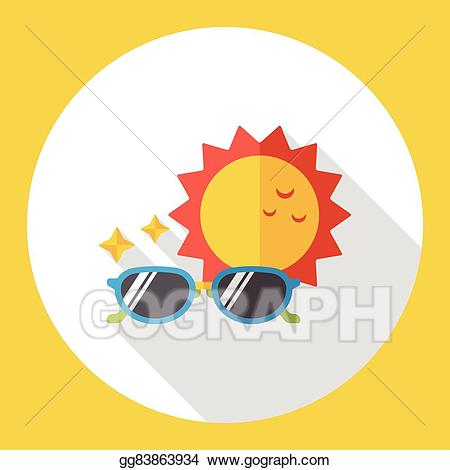 Sunny clipart sunglass. Vector illustration weather flat