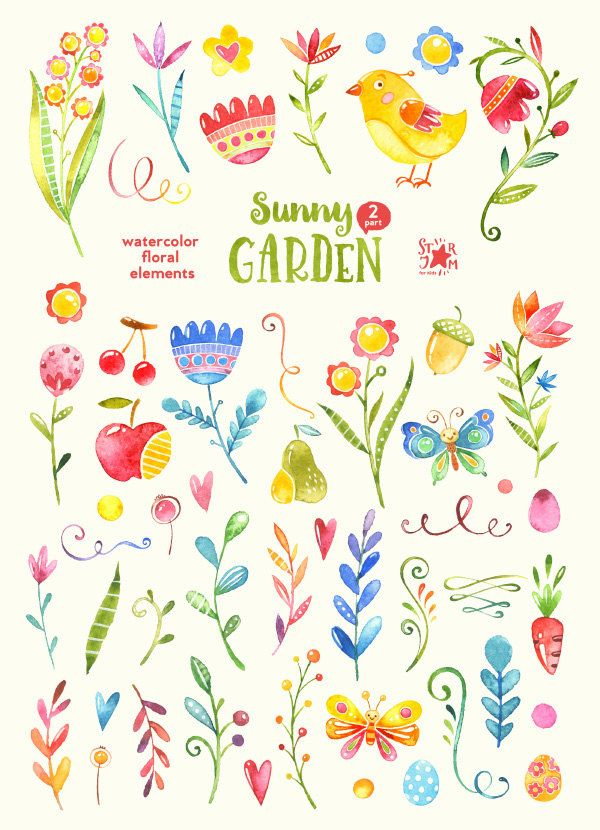 Sunny clipart sunny garden.  floral elements watercolour
