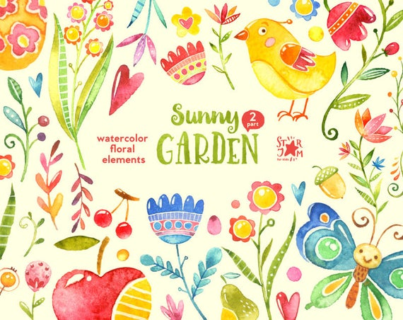 floral elements watercolour. Sunny clipart sunny garden