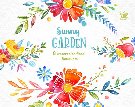 Bouquets watercolor floral greeting. Sunny clipart sunny garden