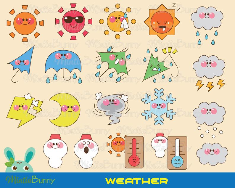 Weather rainny snow instant. Sunny clipart wether