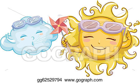 Eps illustration and vector. Sunny clipart windy