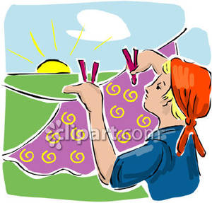 Sunny clipart woman. Hanging clothes on a