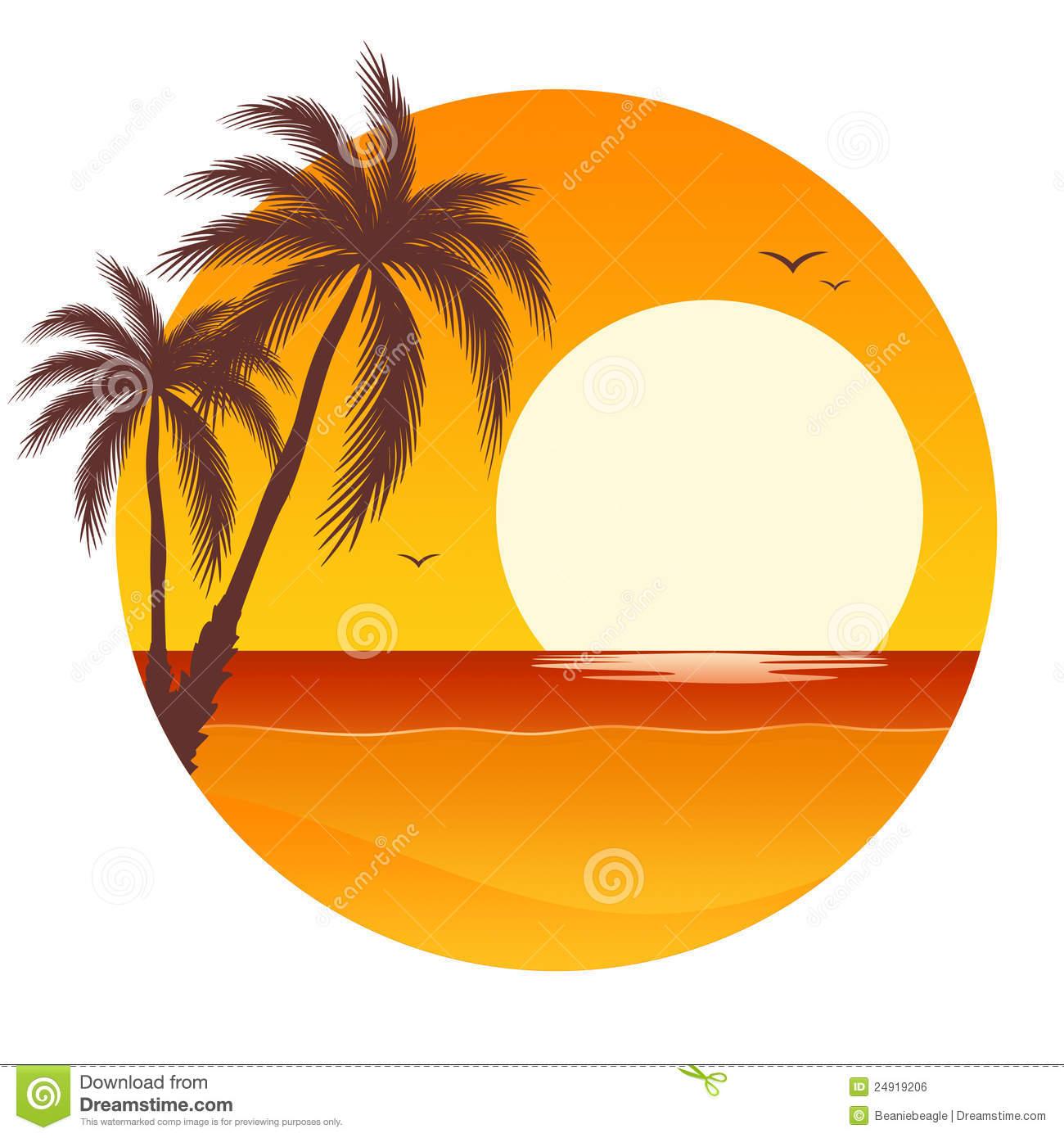 Clip art ocean . Sunset clipart