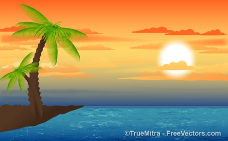 Sunset clipart. Free landscape and vector