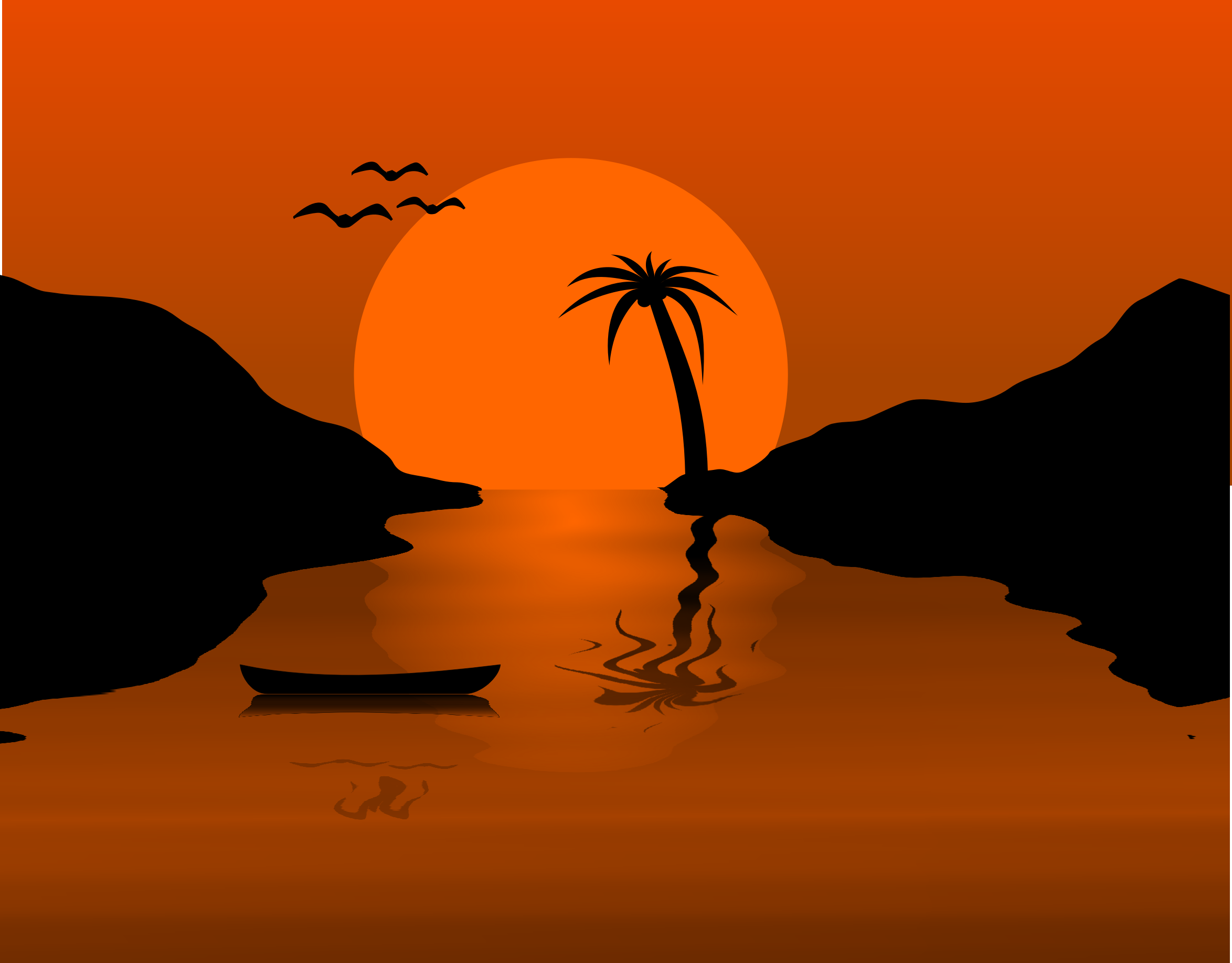 Sunset clipart. Waterscene big image png
