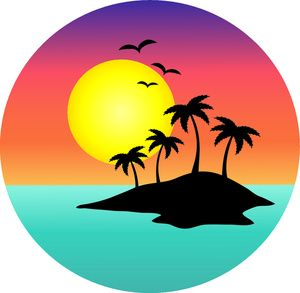 Tropical scene with palm. Sunset clipart