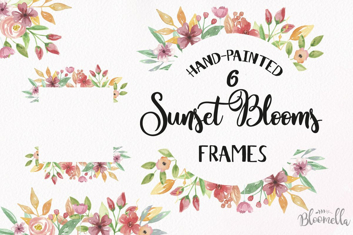 Sunset clipart border. Blooms frames watercolor red