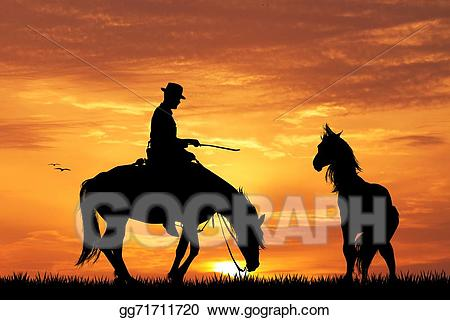 Stock illustration rodeo at. Sunset clipart cowboy sunset