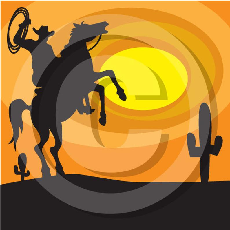 Sunset clipart cowboy sunset. Clip art personal or