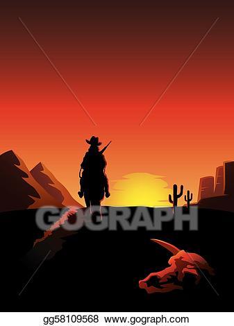 Sunset clipart cowboy sunset. Vector stock riding a