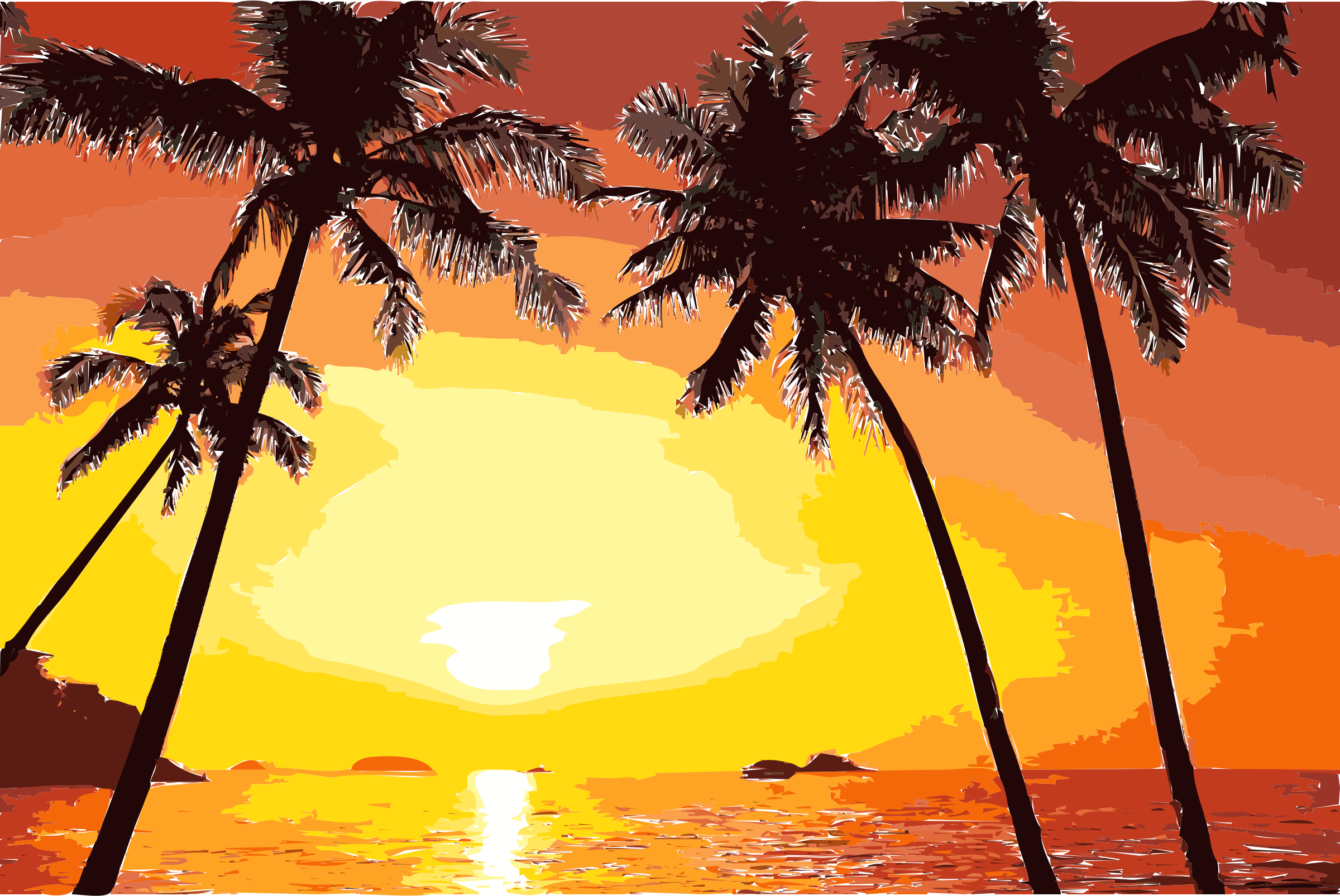 Sunset clipart evening sunset. Tropical icons png free
