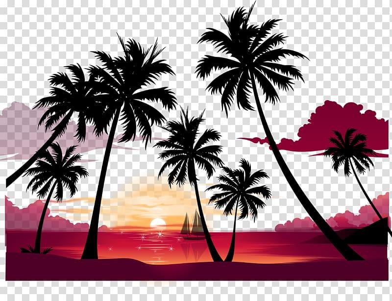 Display summer beach poster. Sunset clipart high resolution
