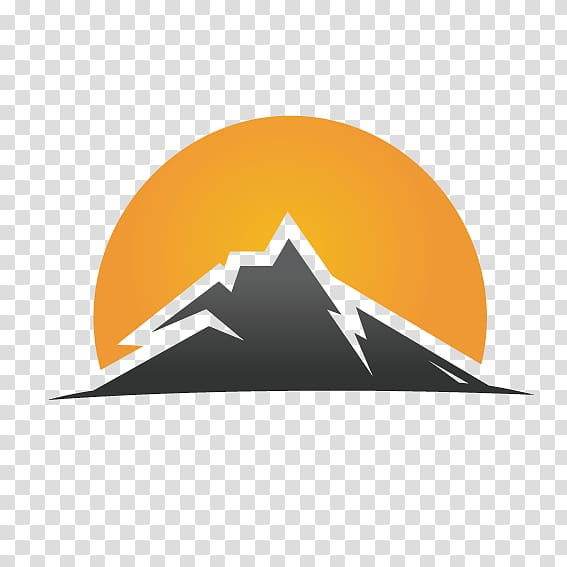Gray mountain and yellow. Sunset clipart logo