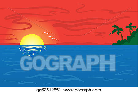 Sunset clipart ocea. Vector ocean illustration