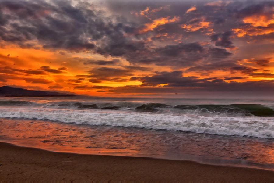 Sun cartoon beach sea. Sunset clipart ocea
