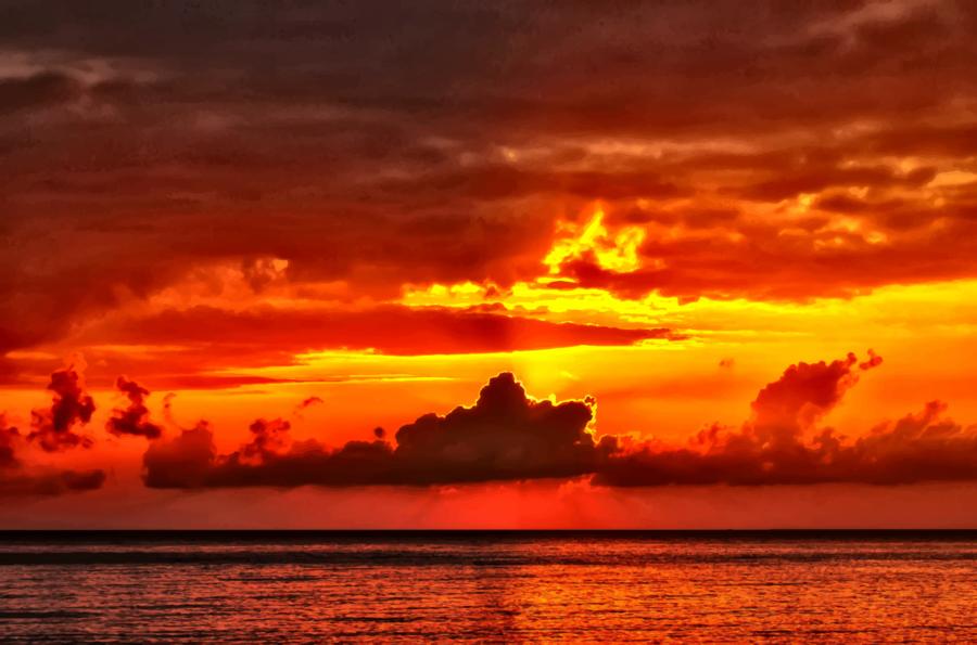 Sun sea ocean transparent. Sunset clipart ocea