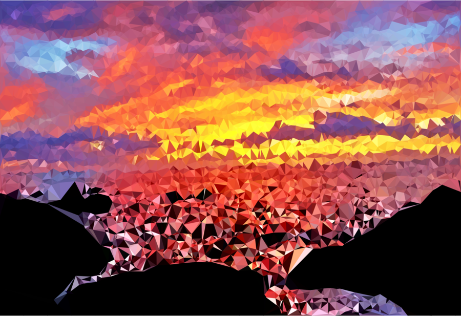 Sunset clipart orange sunset. Watercolor background painting sky