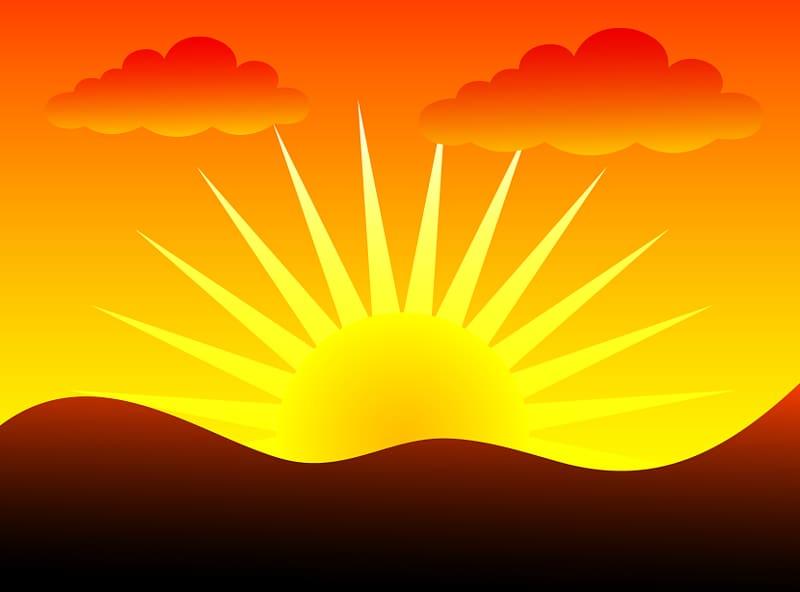Sunset clipart orange sunset. Yellow and sun sunrise