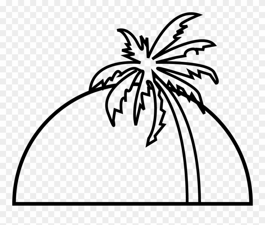 Sunset clipart outline. Palm tree tennis ball