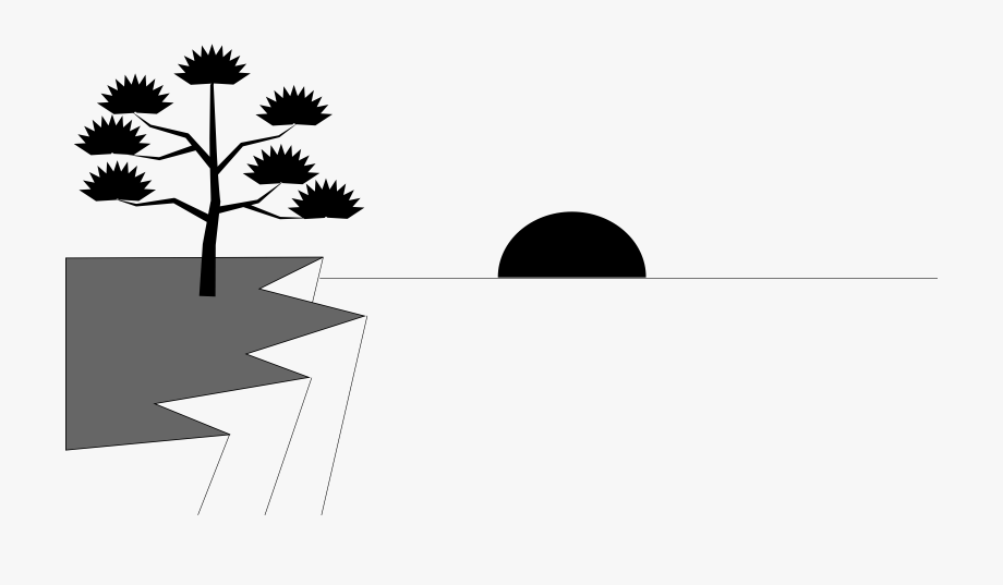 Water black and white. Sunset clipart outline