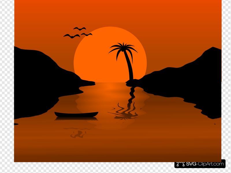 Sunset clipart outline. Water scene clip art