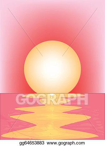 Sunset clipart pink sunset. Vector stock clip art