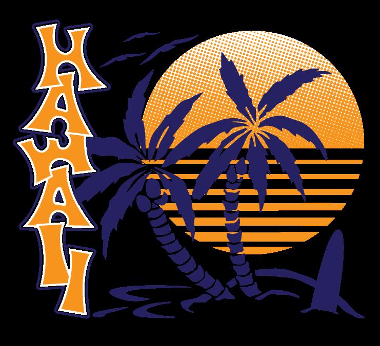 Sunset clipart shirt hawaii. Palm trees surfboard hawaiian
