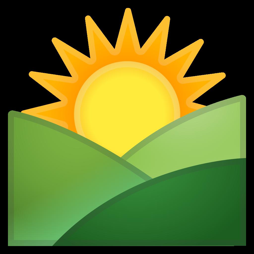Sunset clipart sunrise over. Mountains icon noto emoji