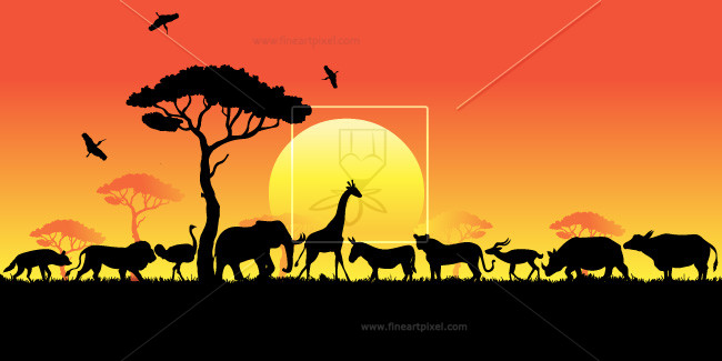 African animals in free. Sunset clipart sunset africa