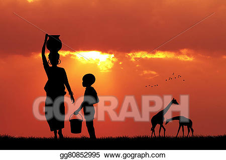 Sunset clipart sunset african. Drawing woman carrying water